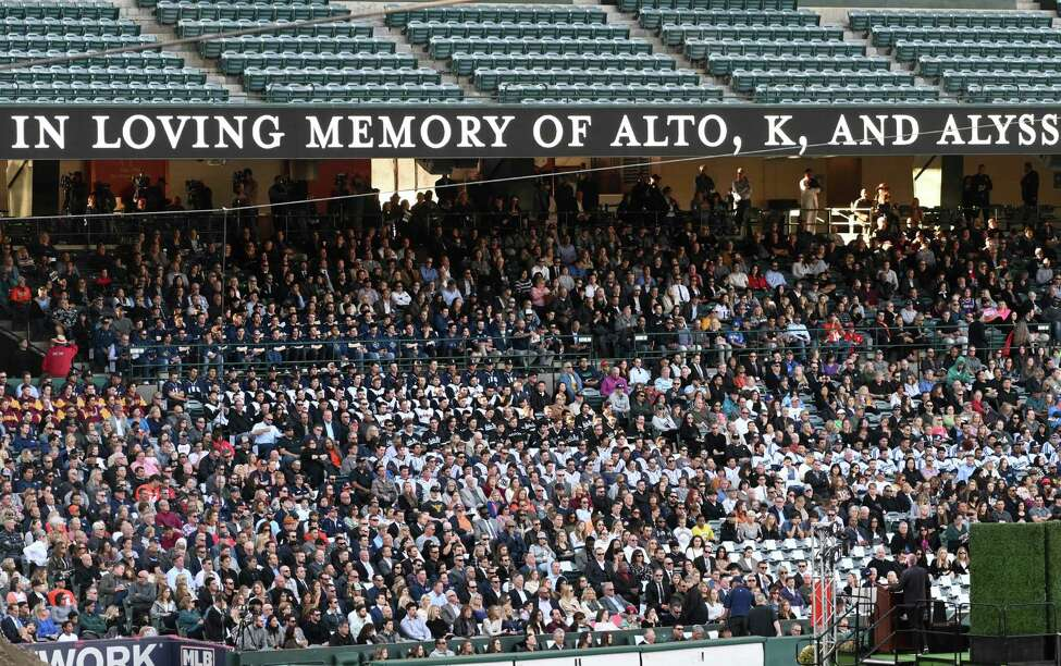 ANAHEIM, CA - FEBRUARY 10: Members of the community attend a memorial service honoring baseball coach John Altobelli, his wife Keri and their daughter Alyssa at Angel Stadium of Anaheim on February 10, 2020 in Anaheim, California. The Altobellis were traveling with former Los Angeles Lakers great Kobe Bryant, his 13-year-old daughter Gianna and four others when the helicopter they were traveling in crashed January 26 in foggy conditions, killing everyone on board.