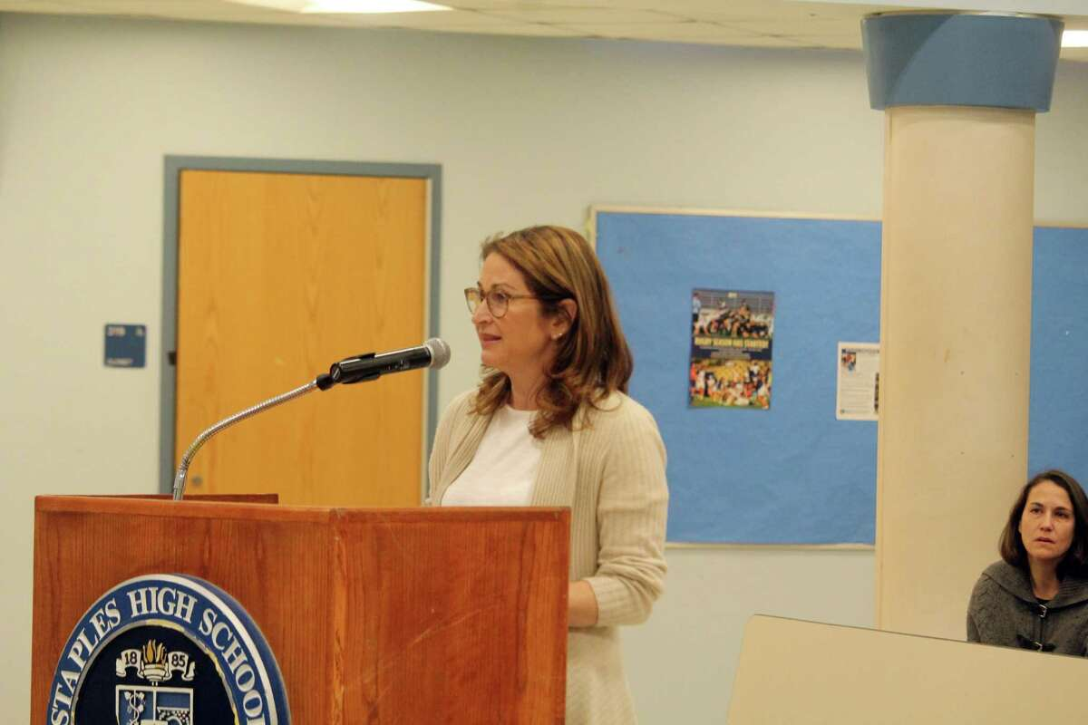 Selectwoman Melissa Kane speaks at a Board of Education meeting on Monday. Taken Feb. 10, 2020 in Westport, Conn.