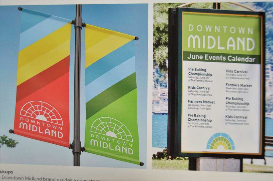 Abbero Creative, a Midland-based marketing agency, designed a new logo and brand for downtown Midland and provided pictures and mockups of it at a Downtown Development Authority meeting last week. (Ashley Schafer/Ashley.Schafer@hearstnp.com)