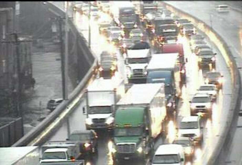 There are heavy delays on I-95 north in Stratford after a two-vehicle accident on Tuesday morning on Feb. 11, 2020. The accident, reported at 7:10 a.m. closed the left and center lanes between Exits 32 and 33. Photo: Traffic Cam
