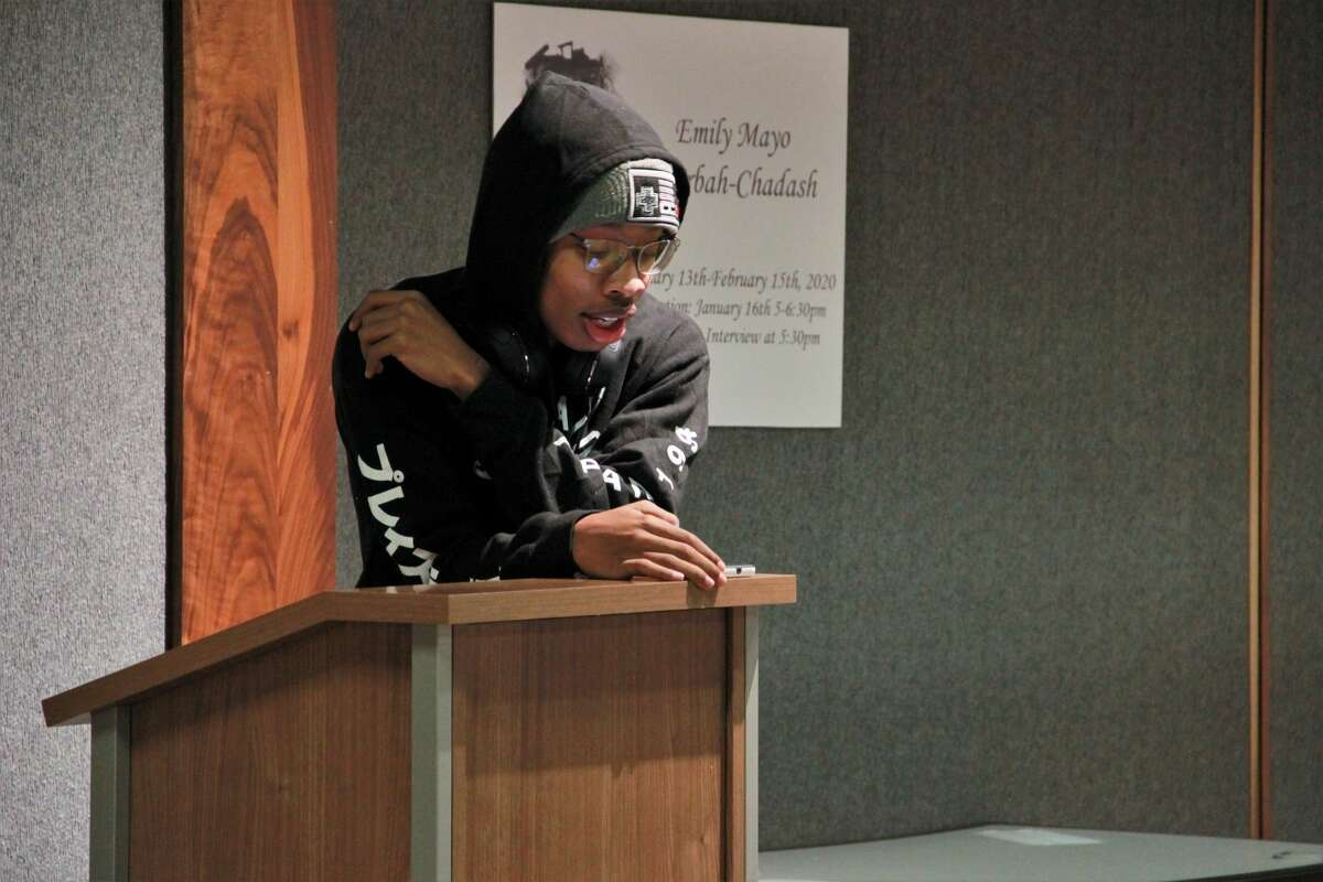 Area residents celebrated Valentine's Day early as they shared their favorite poem during Ferris' Open Mic Night on Monday. Presented by the FSU Literature in Person Series, students and residents gathered at the Ferris State University Center to share their favorite poem or short prose in front of various audience members. The event was to celebrate and help define love of all kinds, including romantic, familiar, platonic, earthly, supernatural and even what is not love. The event was co-sponsored by the Literature in Person Series, which is supported by the Ferris Department of English, Literature, and World Languages.