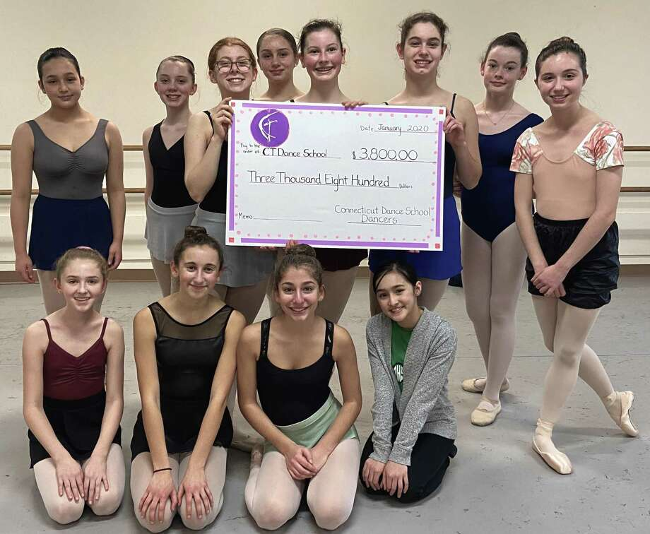 CT Dancers who raised funds for Dance 4 Abilities, standing from left, Natalie Compare, Sarah Hamilton, Katherine Tharrington, Isabel Brenner, Mary Harvey, Caitlin Agee, Kelly White, Lizzy Van Arnam. Seated from left, Maelen Wilk, Amelia Vallillo, Ellie Mannello, Audrey Compare. Photo: Contributed Photo