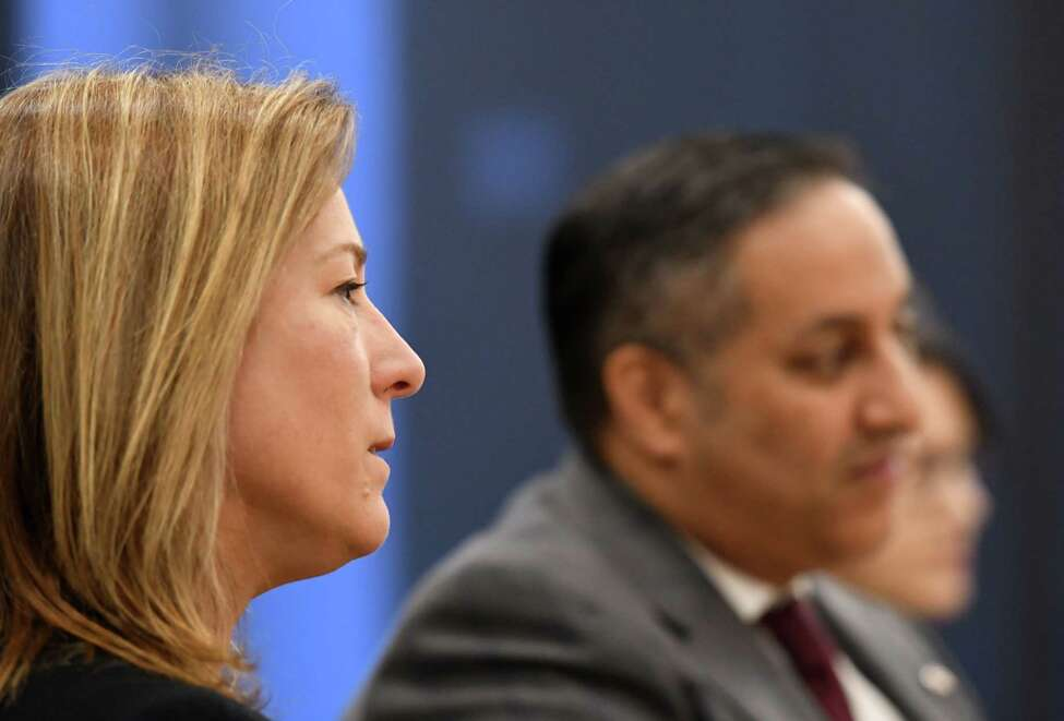 Delegate General of Quebec, Catherine Loubier, left, and Canada?•s Acting Consul General, Khawar Nasim, right, are interviewed on Tuesday, Feb. 11, 2020, at the Times Union in Colonie, N.Y. The delegates are in Albany for a two-day visit focused on the Canada-New York partnership. (Will Waldron/Times Union)