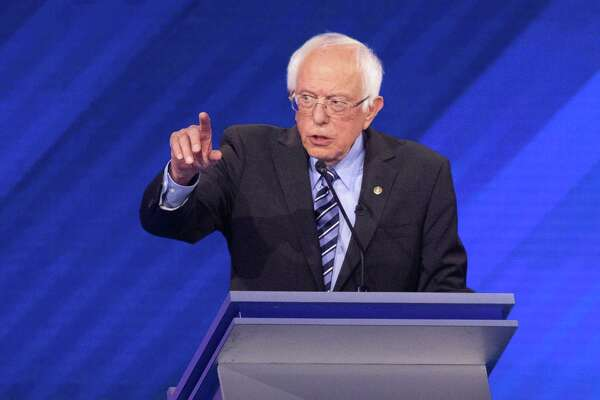 Sen. Bernie Sanders (I-Vt.) speaks during the Democratic Party presidential debate at Texas Southern University in Houston on Thursday, Sept. 12, 2019. (Ruth Fremson/The New York Times)
