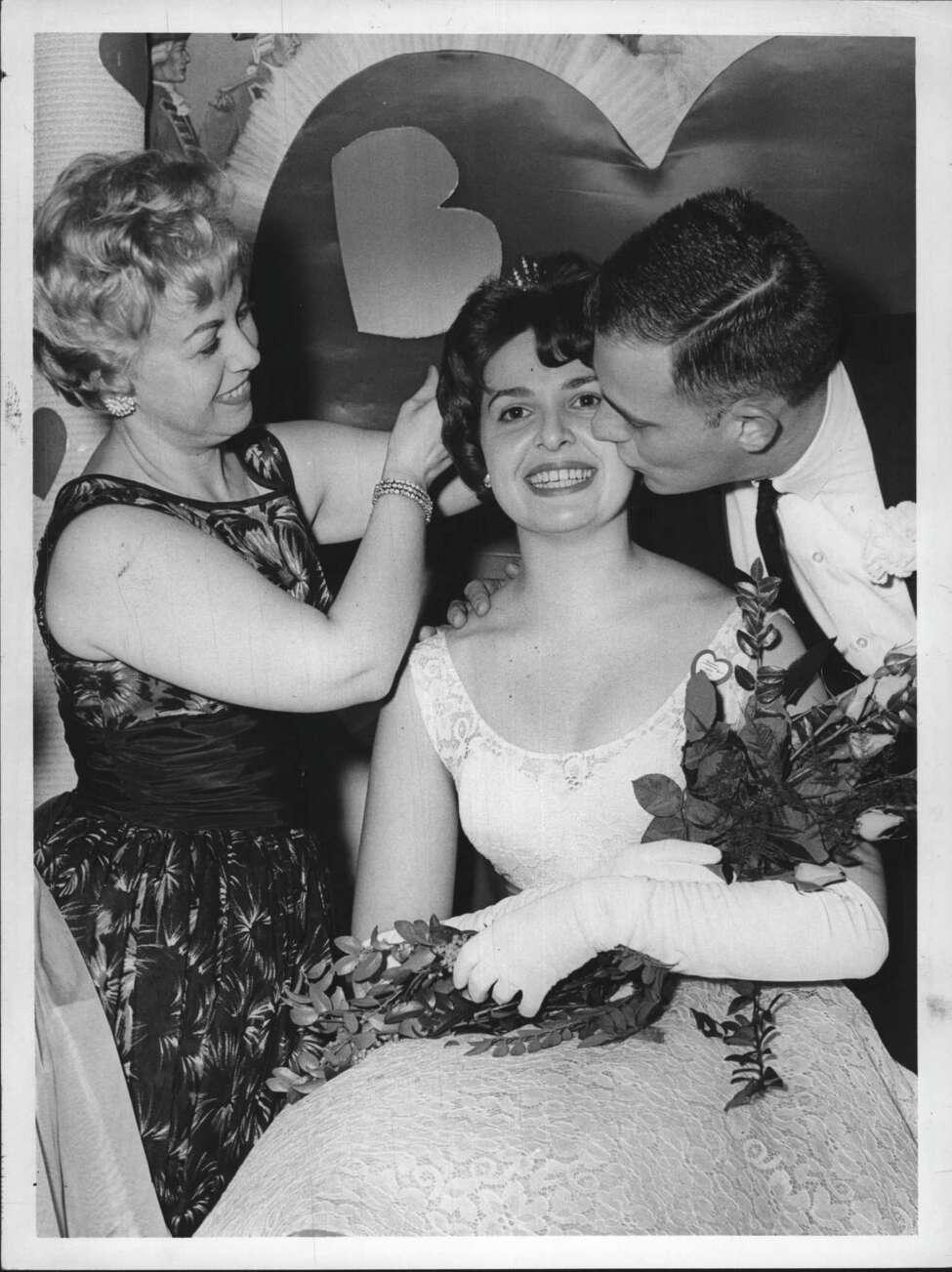 Crossroads Restaurant, Latham, New York - Valentine Queen, Beta Sigma Phi - Miss Carol Bratton, Chairman of Affair, Mrs. Jan Holick, Queen, Jan Holick Undated (husband). February 21, 1962 (Thomas Sheehan/Times Union Archive)