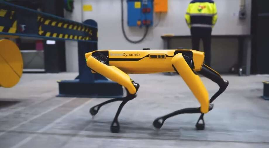 "A four-legged, data-gathering robot named ""Spot"" is being tested on an offshore rig in the Norwegian Sea.  Photo: Aker BP"