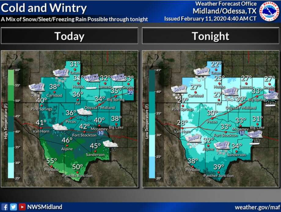 It will be a cold and wintry day across SE New Mexico and West Texas, with a wintry mix possible today across SE New Mexico, and light freezing rain/freezing drizzle across the northern Basin. Wintry precipitation will overspread the region tonight, with a wintry mix of snow, sleet, and freezing rain across much of the area. Greatest accumulations will be across the Guadalupe and Delaware Mountains and SE New Mexico. Photo: NWS Midland/Odessa