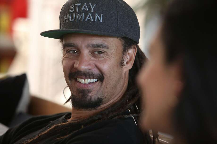 Michael Franti (left) and Sara Agah Franti (right) talk during an interview at their home on Monday, February 10, 2020 in San Francisco, Calif. Photo: Lea Suzuki / The Chronicle