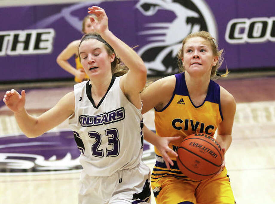 CM's Tori Standefer (right), shown taking the ball to the basket against Breese Central's Chloe Book in a Jan. 4 shootout in Breese, on Monday night scored a career-high 21 points in the Eagles' MVC victory in Mascoutah. Photo: Greg Shashack / The Telegraph