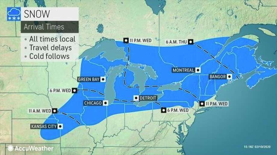 Wintry precipitation could impact a 1,500-mile stretch from eastern Kansas to eastern Maine from Wednesday through Thursday. (Photo provided/AccuWeather)