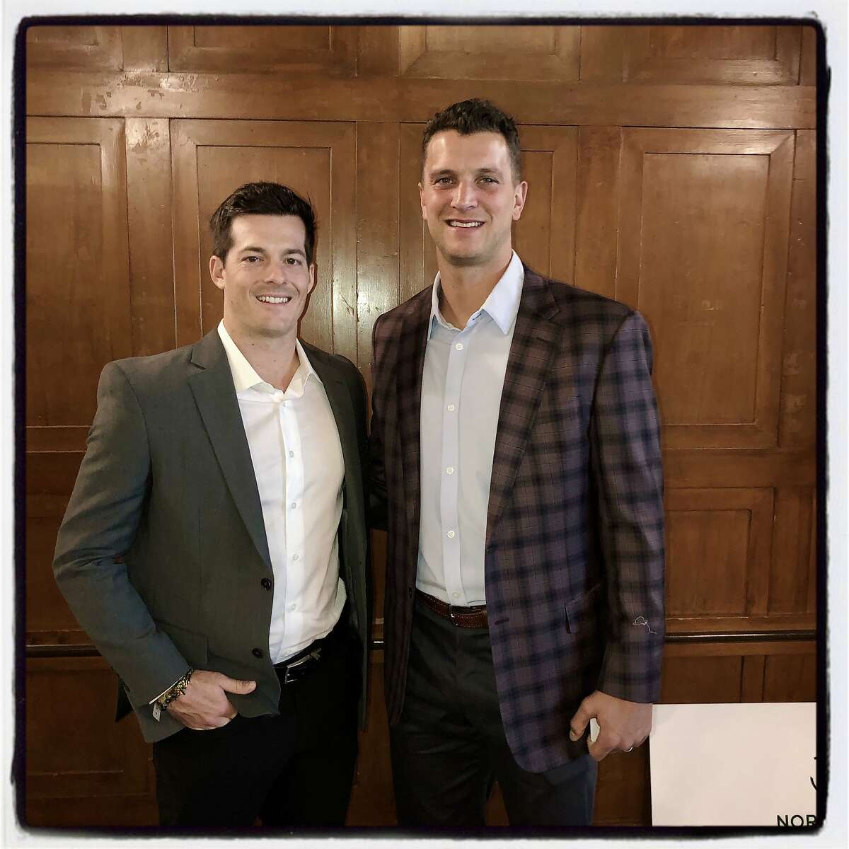 SF Giants outfielder Mike Yastresemski (left) and SF Giants pitcher Tony Watson at the Guardsmen Sports Auction. Feb. 6, 2020.