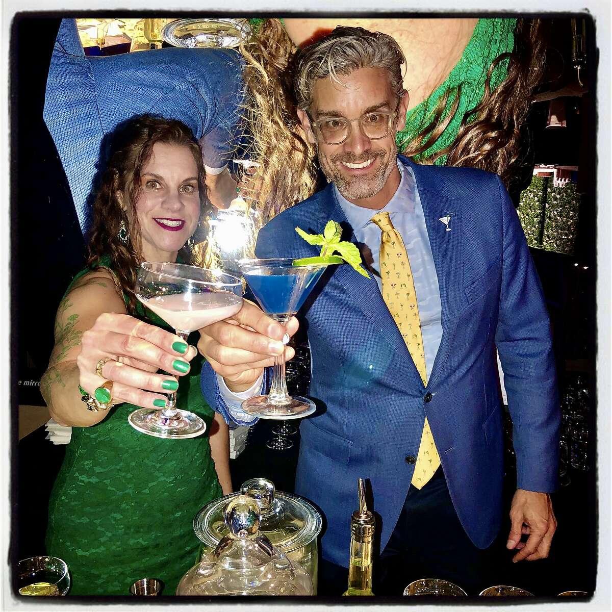 Absinthia Vermut (left) with Exploratorium Director Chris Flink at the Science of Cocktails fundraiser. Feb. 7, 2020