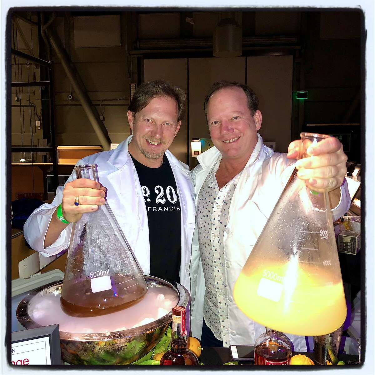 Vintage Wine Estates Spirits Manager Walter Moore (left) and Meadowood Beverage Director Scott Beattie at the Science of Cocktails fundraiser. Feb. 7, 2020.
