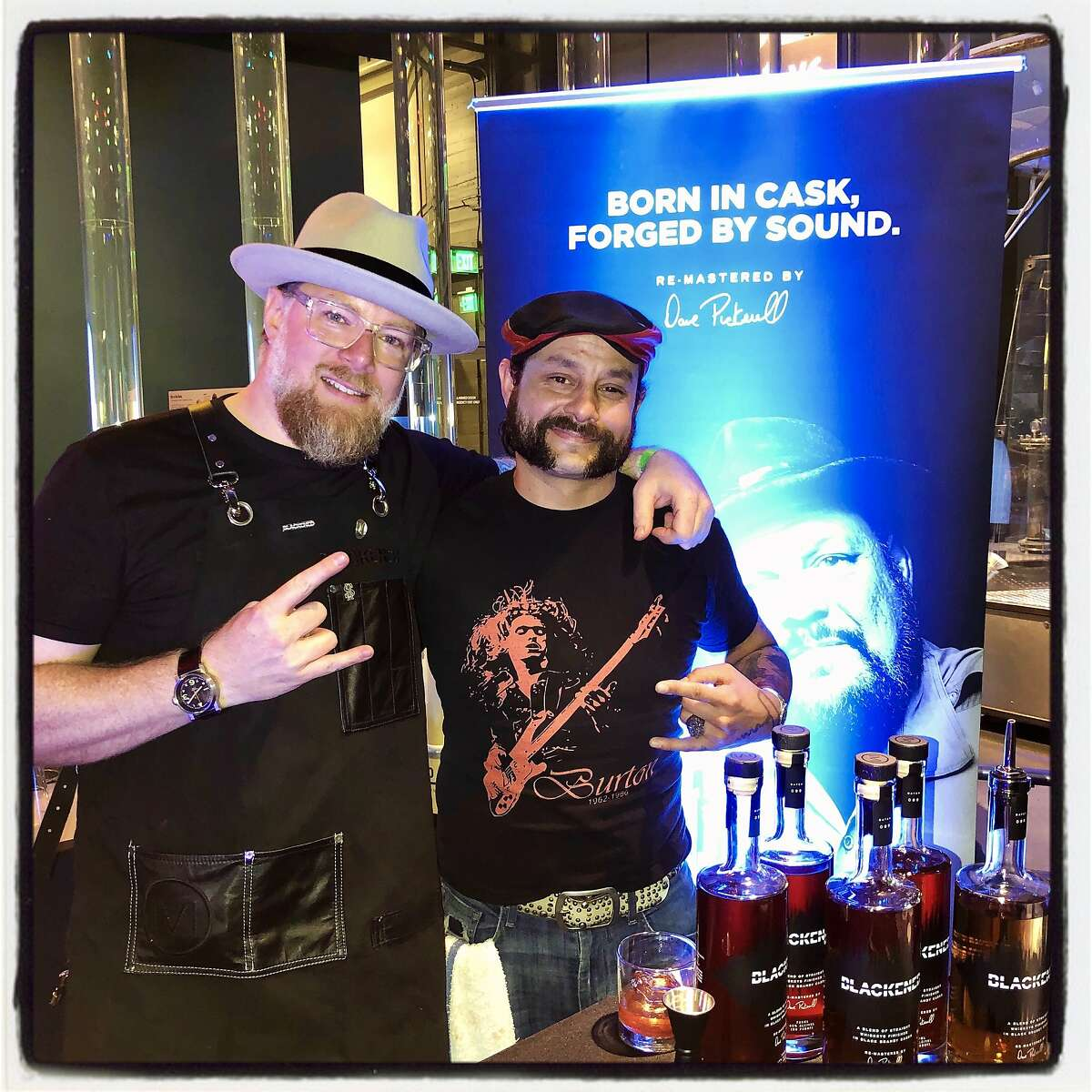 Blackened Whiskey Market Manager Kory Botkin (left) and Todd McKean at the Science of Cocktails fundraiser. Feb. 7, 2020.