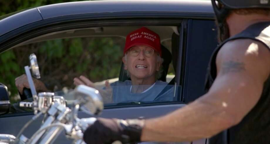"""Larry David wears a MAGA hat in the first episode of season 10 of """"Curb Your Enthusiasm"""" in order to get out of awkward social situations. Photo: HBO"""