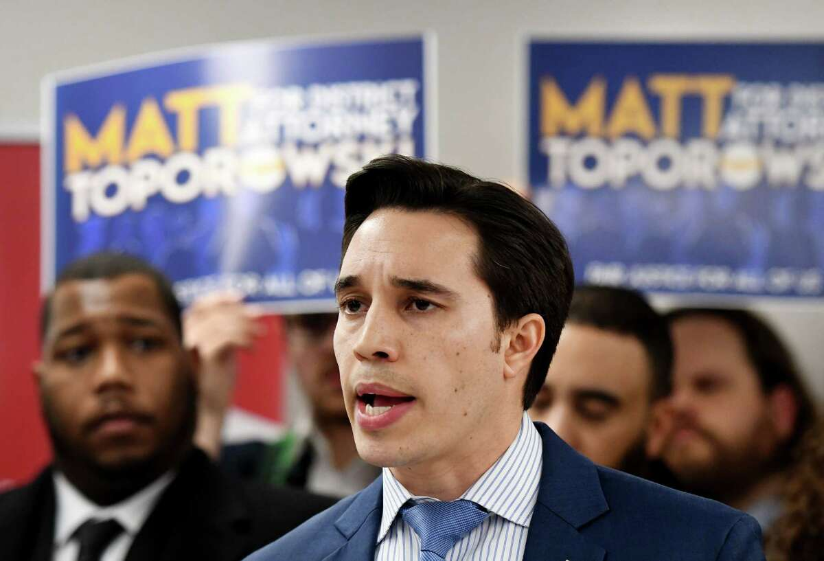 Matthew Toporowski, an Albany-based trial attorney and former prosecutor, announces his candidacy for Albany County District Attorney on Tuesday, Feb. 11, 2020, during a campaign event in Albany, N.Y. He is challenging current District Attorney David Soares for the Democratic nomination. (Will Waldron/Times Union)