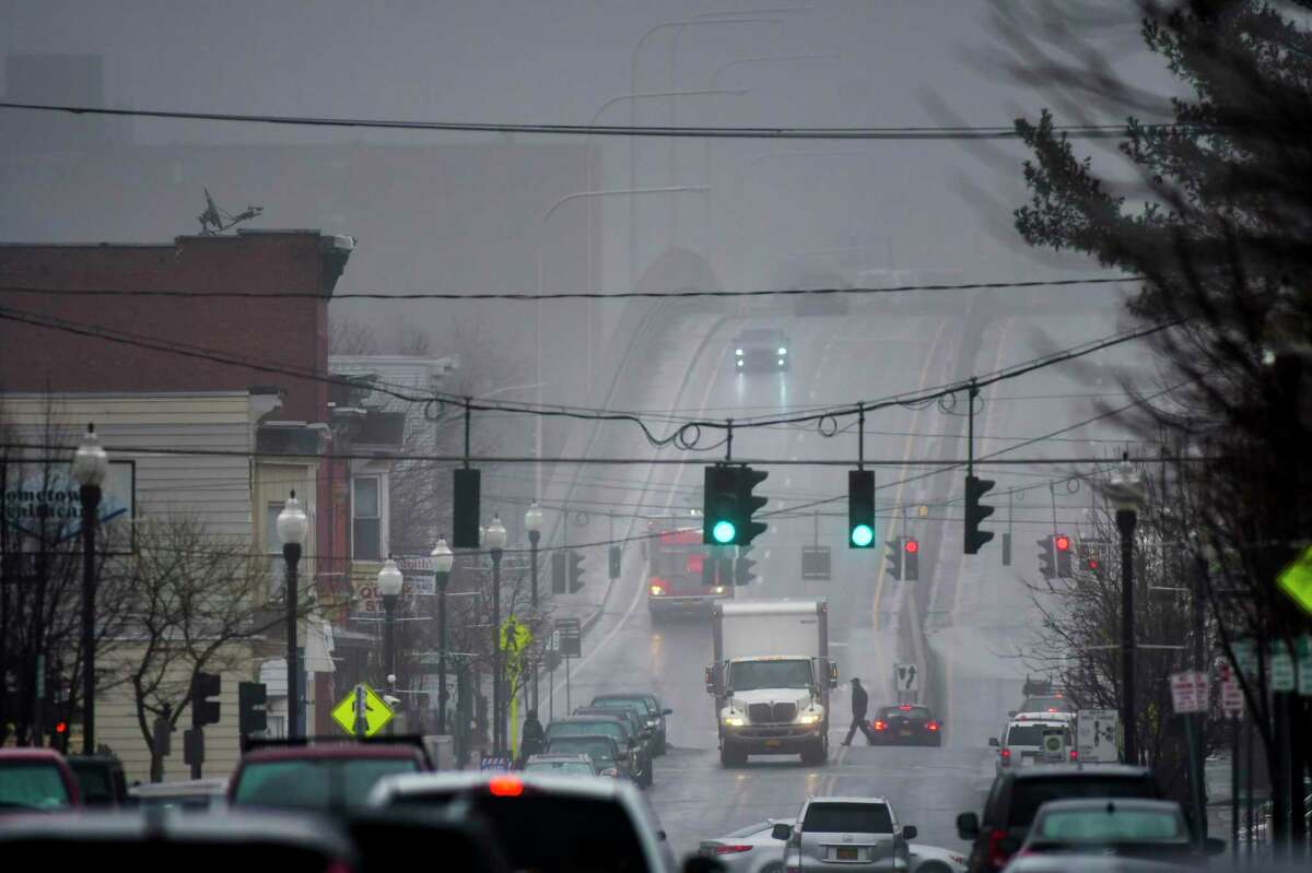 Fog obscures the view looking east on 19th Street towards the Congress Street Bridge on Tuesday, Feb. 11, 2020, in Watervliet, N.Y. (Paul Buckowski/Times Union)