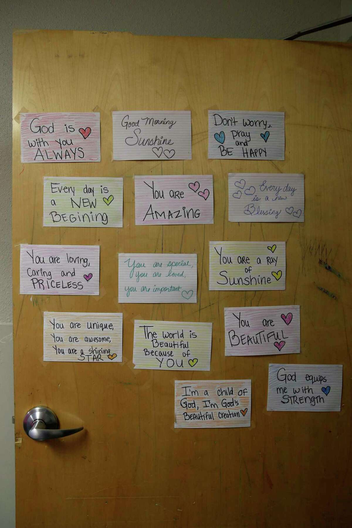 A young client wrote some affirmations and taped them to his door at the Whataburger Center for Children & Youth.