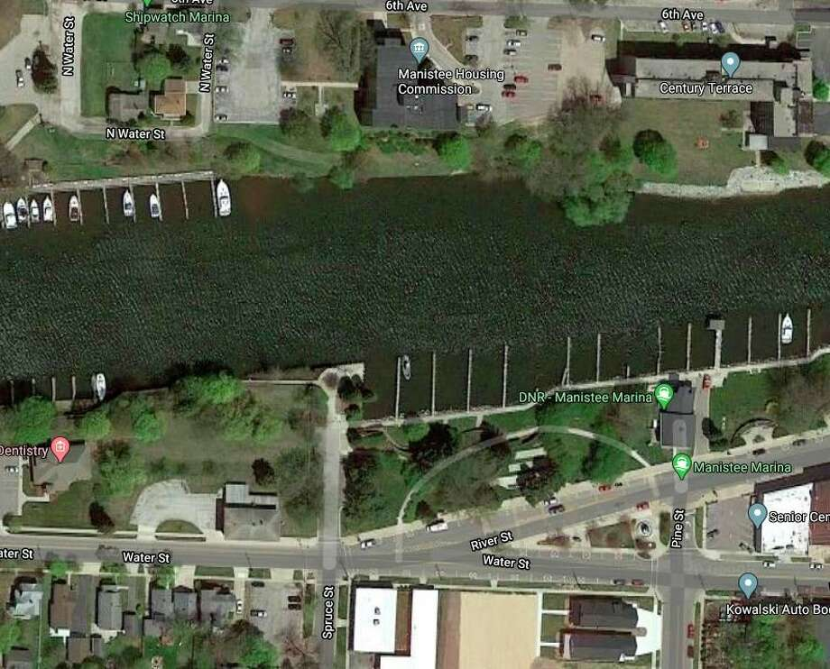 Manistee City Police responded to a report of an unresponsive woman at the Riverwalk near Spruce Street on Feb. 11. (Google Map screenshot)