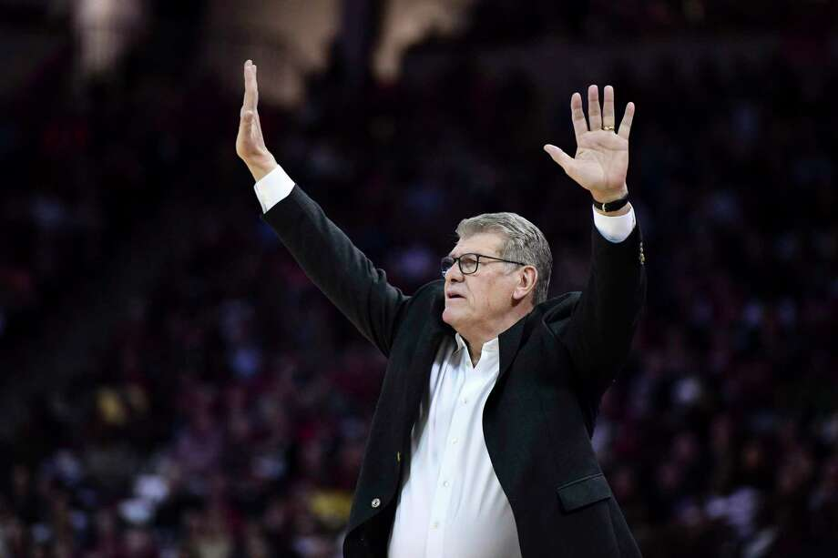UConn women's basketball coach Geno Auriemma communicates with players during the first half against South Carolina in February. Photo: Sean Rayford / Associated Press / Copyright 2020 The Associated Press. All rights reserved.