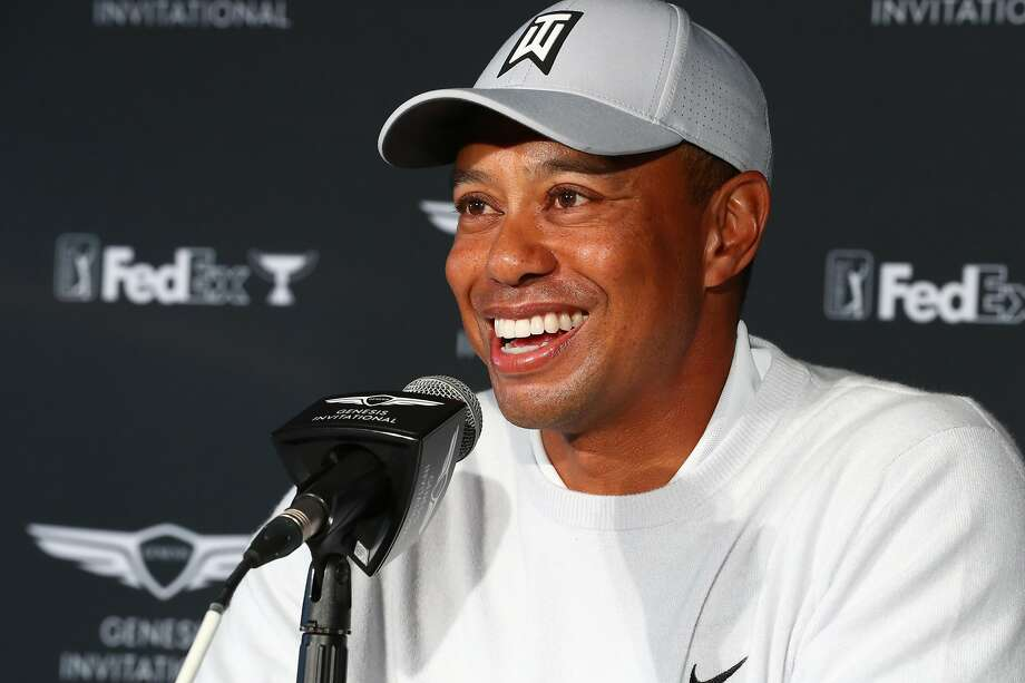 PACIFIC PALISADES, CALIFORNIA - FEBRUARY 11: Tiger Woods speaks during a press conference during the Genesis Invitational - Preview Day 2 on February 11, 2020 in Pacific Palisades, California. (Photo by Joe Scarnici/Getty Images) Photo: Joe Scarnici / Getty Images