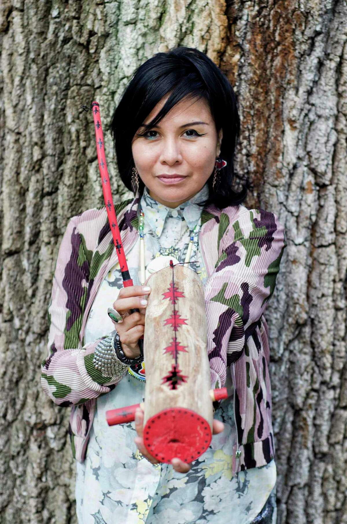Musician Laura Ortman is coming to Bridgeport's Housatonic Museum of Art Feb. 20 to engage the scaffolded sculptures of the current exhibit by playing violin, as well as employing native instruments and digital effects.