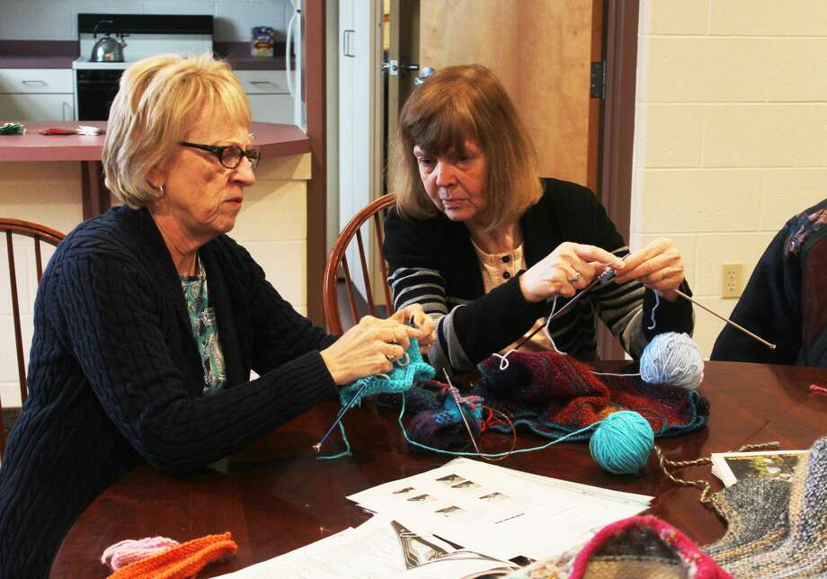 Several local women gathered at the United Church of Big Rapids for another weekly workshop hosted by Knitters Anonymous as part of the annual Festival of the Arts. This week, attendees learned about creating short rows. Photo: (Pioneer Photo/Taylor Fussman)