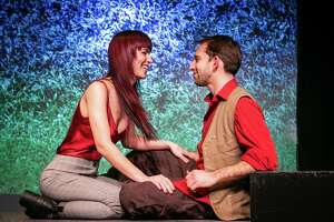 "Heather Haneman and Matthew Benjamin Horowitz rehearse for ""Constellations,"" onstage at TheatreWorks New Milford, Feb. 21 through March 7."