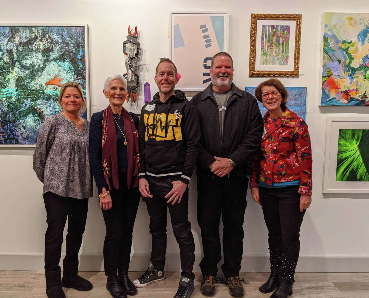 David Lindsay, second from right, the son of Hu Lindsay and RAC exhibiting artist, joins the winners in attendance: Amy Schott, left, Laure Dunne, Joseph Dermody and Heidi Follin.