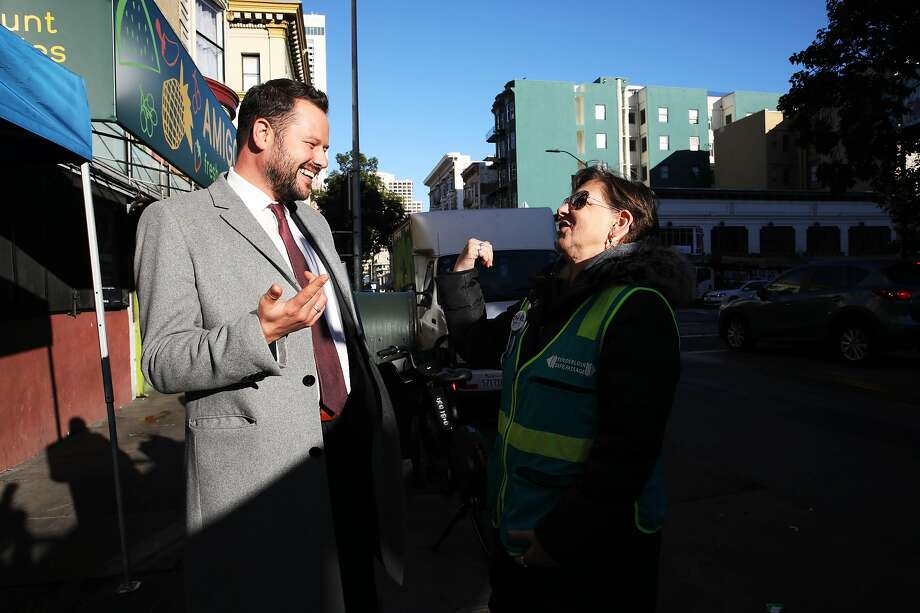 San Francisco District 6 Supervisor Matt Haney converses with Dawn Starr, of Tenderloin Safe Passage, on Ellis Street in San Francisco, Calif., on Friday, February 7, 2020. Since entering City Hall last year, Haney has quickly emerged as one of the most visible and active supervisors. Photo: Yalonda M. James / The Chronicle