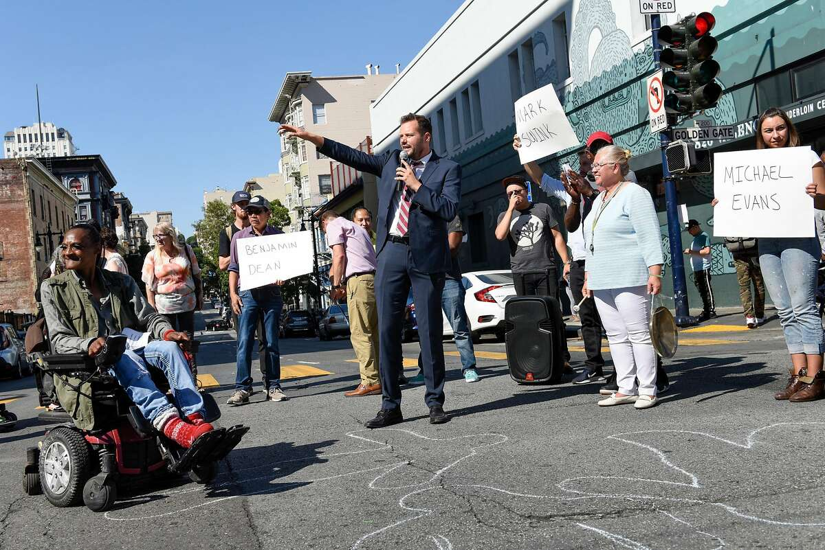 Matt Haney, District Supervisor for the Tenderloin, speaks at a protest organized by the Tenderloin People's Congress at Golden Gate and Leavenworth on Friday afternoon, three days after a 12-year-old boy was struck by a man driving without a license and driving under the influence in San Francisco, Calif., on September 13, 2019.