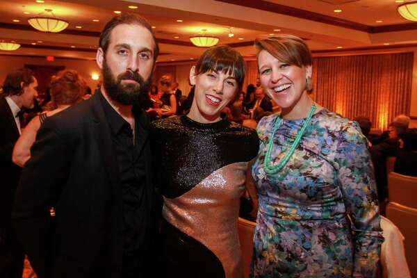 EMBARGOED FOR SOCIETY REPORTER UNTIL FEBRUARY 15 Cuyler and Rachel Ballenger, from left, with Josie Mitchell at the Inprint Poets & Writers Ball on February 8, 2020 in Houston at The Houstonian.