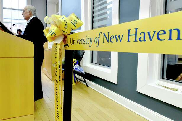 Philanthropist Sam Bergami speaks during the ribbon-cutting for the Samuel S. Bergami Jr. Cybersecurity Center Tuesday at the University of New Haven in West Haven.