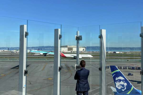 Taking in the monumental views at SFO's new Sky Terrace on the roof of Terminal 2