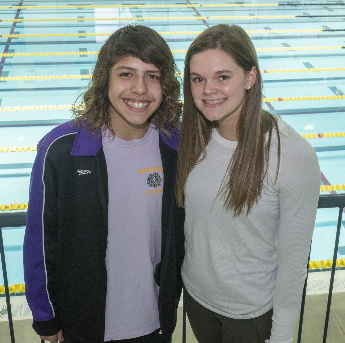 Midland High's Nicholas Stone and PJ Day have qualified for the UIL State meet, Stone in diving and Day swimming. 02/11/2020 Tim Fischer/Reporter-Telegram