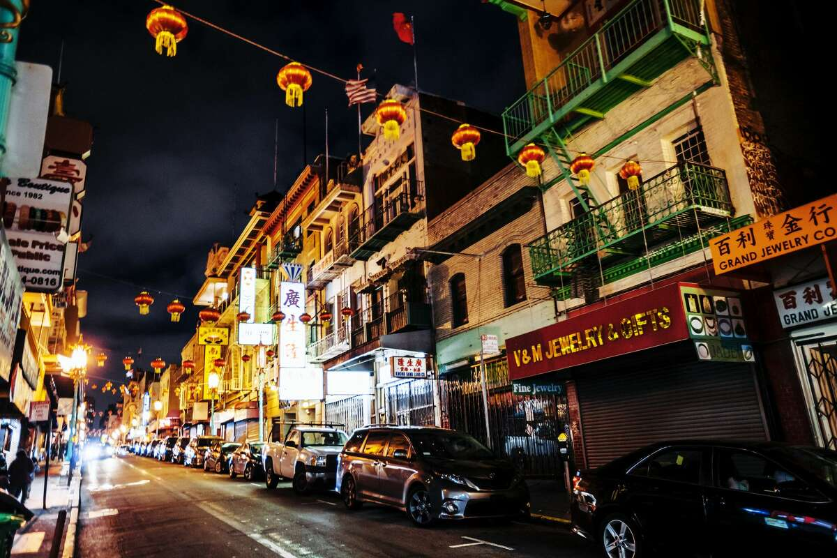FILE - A photo of Chinatown at night. Neighborhood proprietors are concerned that the fear of coronavirus is affecting business.