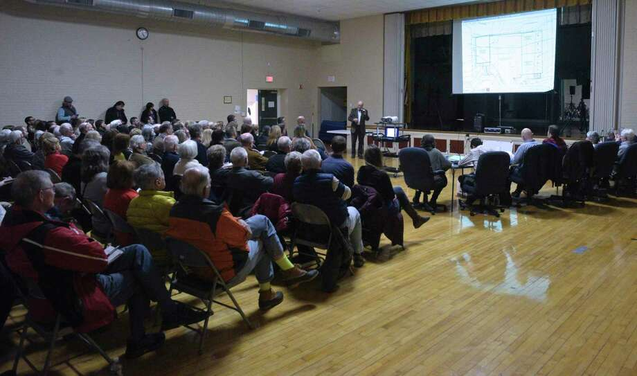 Over 70 residents attended the Planning and Zoning Commission public hearing on the proposed plan to expand the wood recycling facility, All Regional Recycles of Wood (ARROW) on Wooster Street. Tuesday night, February 11, 2020, in Bethel, Conn. Photo: H John Voorhees III / Hearst Connecticut Media / The News-Times