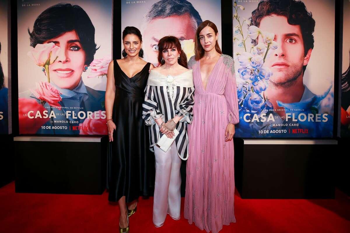 La Casa de Las Flores - Netflix original From left to right: Aislinn Derbez, Veronica Castro and Cecilia Suarez pose during the event premiere of Netflix series