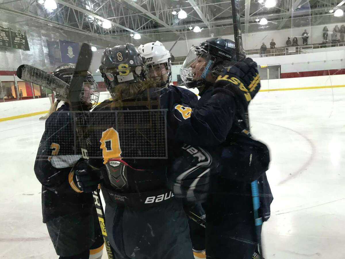 Simsbury celebrates its goal during its 1-0 win vs. Greenwich on Tuesday, February 11, 2020, in Greenwich.