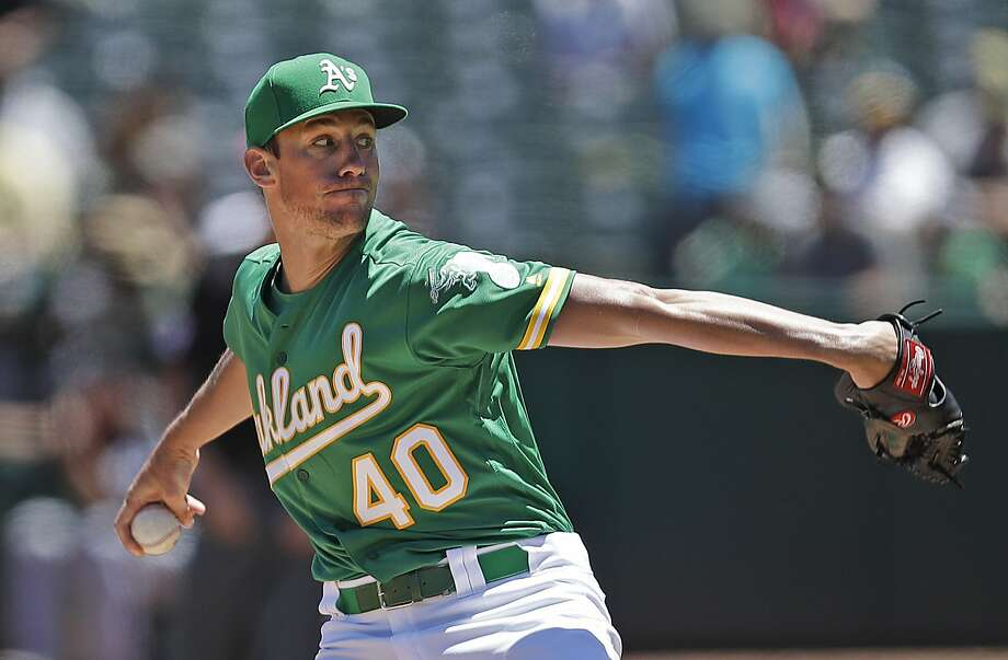 Oakland Athletics pitcher Chris Bassitt works against the Chicago White Sox in the first inning of a baseball game Saturday, July 13, 2019, in Oakland, Calif. (AP Photo/Ben Margot) Photo: Ben Margot / Associated Press