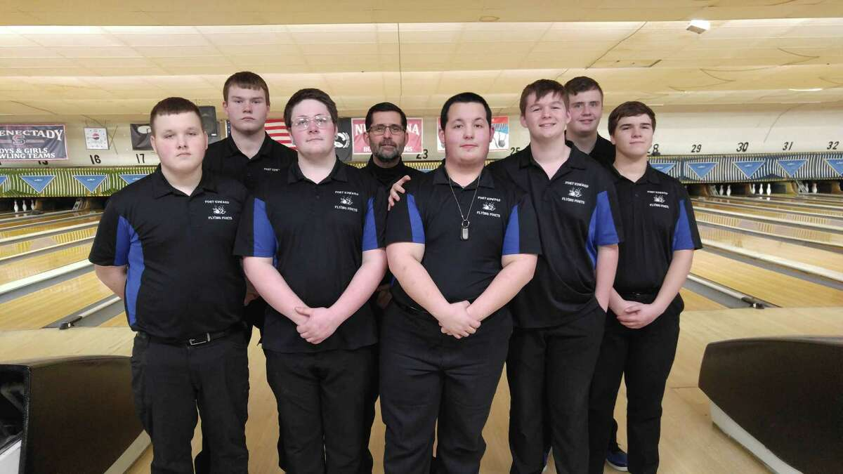 Members of the Fort Edward boys' bowling team, which won the Section II Class C/D championship Tuesday, Feb. 11, 2020, at Boulevard Bowl in Schenectady (from left): Mark Humphreys, Edward Amell (not