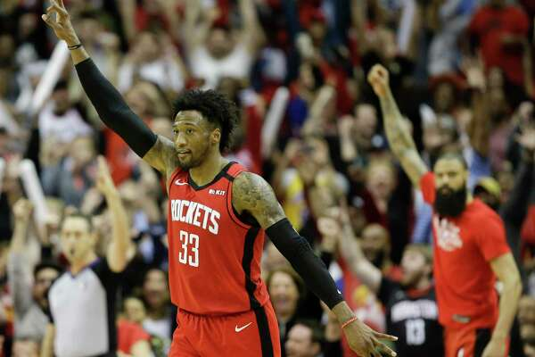 Forward Robert Covington (33) has averaged three 3-pointers in his six games with the Rockets.