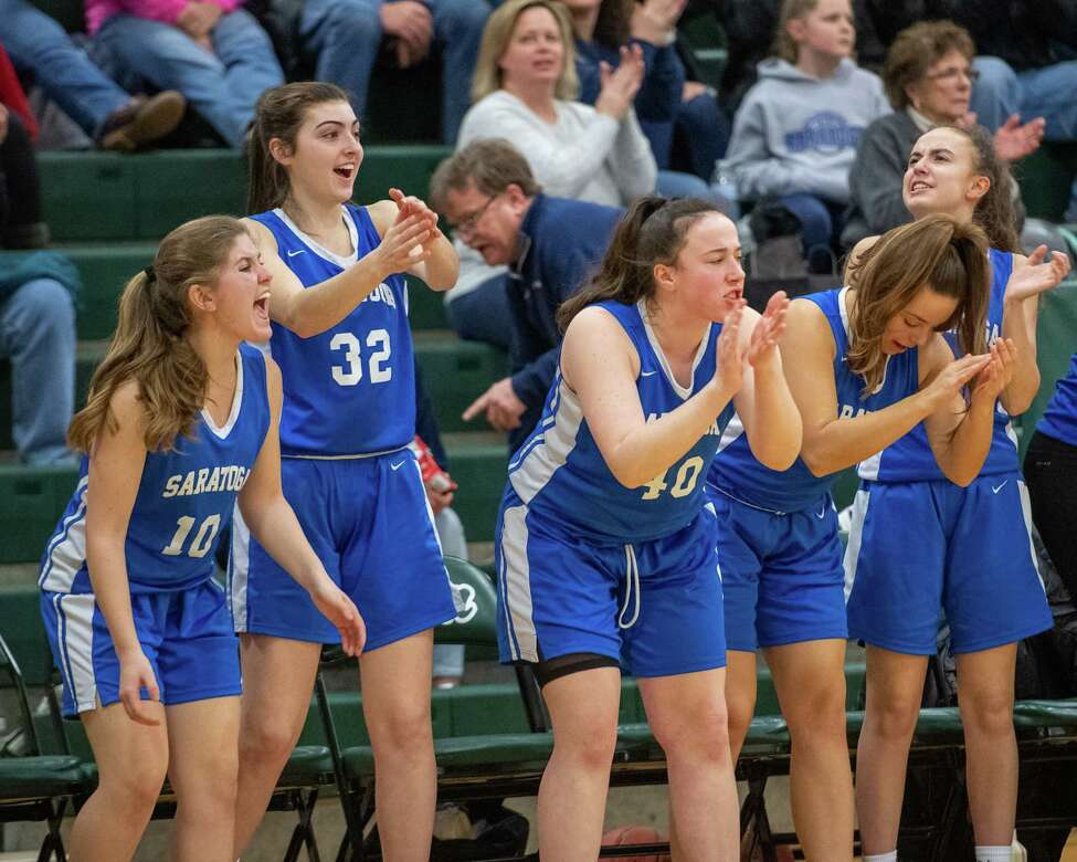 The Saratoga bench cheers its team during a Suburban Council game against Shenendehowa at Shenendehowa High School on Tuesday, Feb. 11, 2019 (Jim Franco/Special to the Times Union.)