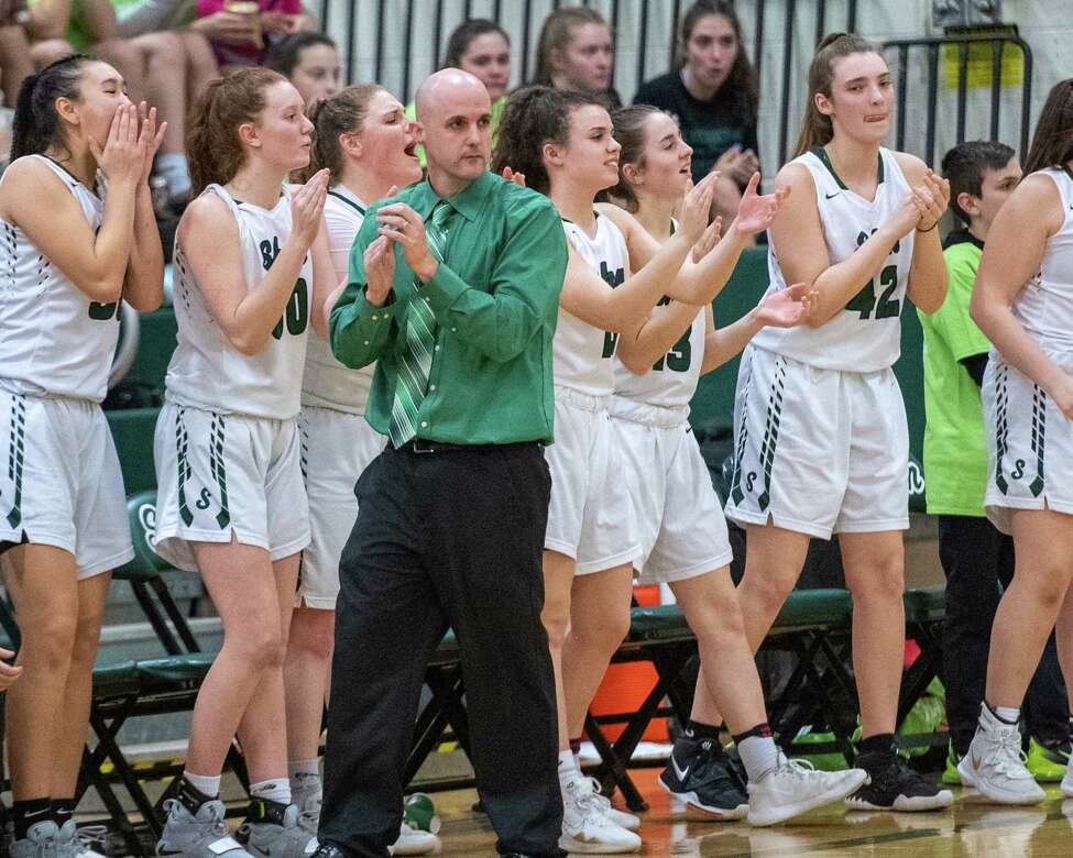 Shenendehowa girls basketball head coach Joe Murphy during a Suburban Council game against Saratoga at Shenendehowa High School on Tuesday, Feb. 11, 2019 (Jim Franco/Special to the Times Union.)