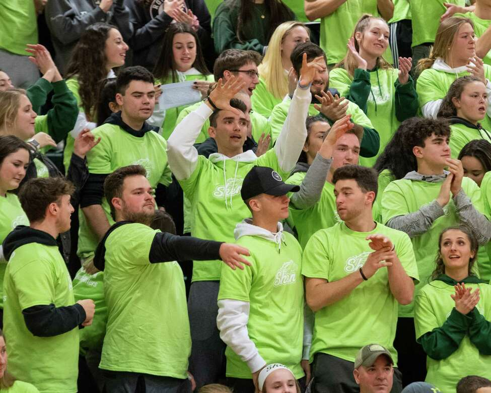 Shenendehowa fans cheer their team during a Suburban Council game against Saratoga at Shenendehowa High School on Tuesday, Feb. 11, 2019 (Jim Franco/Special to the Times Union.)