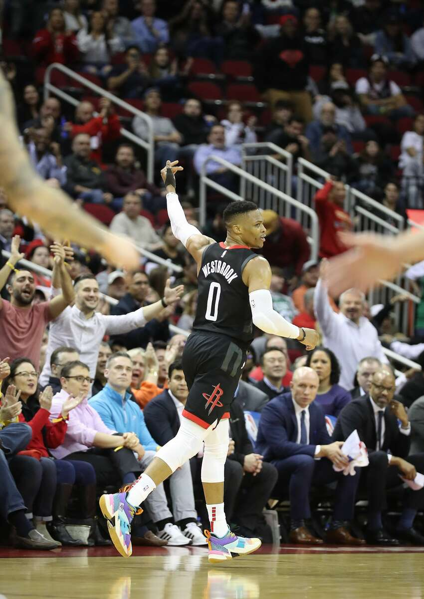 Houston Rockets guard Russell Westbrook (0) acknowledges the crowd at the end of the second half of an NBA basketball game at Toyota Center on Wednesday, Feb. 12, 2020, in Houston.