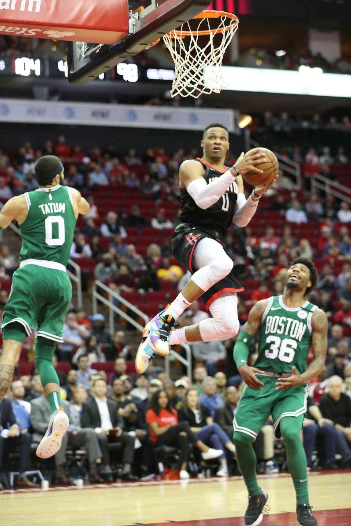 Houston Rockets guard Russell Westbrook (0) goes up for a easy layup during the second half of an NBA basketball game at Toyota Center on Tuesday, Feb. 11, 2020, in Houston.