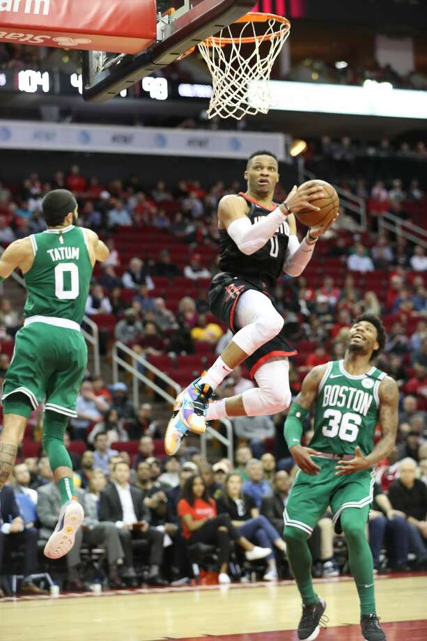 Houston Rockets guard Russell Westbrook (0) goes up for a easy layup during the second half of an NBA basketball game at Toyota Center on Tuesday, Feb. 11, 2020, in Houston. Photo: Steve Gonzales/Staff Photographer