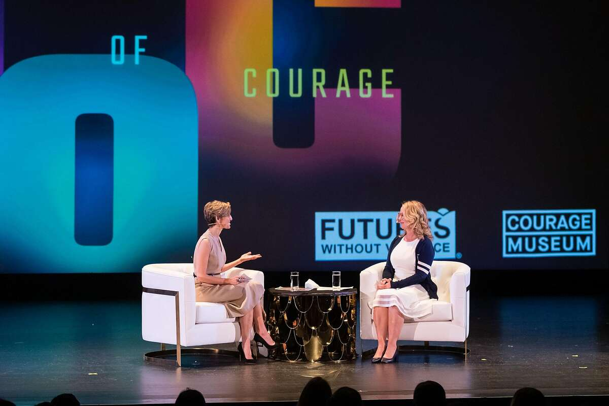 Christine Blasey Ford (right) speaks to Journalist and former Glamour Magazine Editor Chief Cindi Leive (left) at the Futures Without Violence event sponsored by Courage Museum at the Presidio Theatre in San Francisco on Tuesday, February 11, 2020. Mrs. Blasey Ford received inaugural Courage Awards for her advocacy.