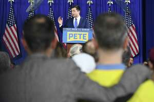 Former South Bend Mayor Pete Buttigieg speaks at his campaign base for the New Hampshire Presidential Primary at Nashua Community College in Nashua, N.H. Tuesday, Feb. 11, 2020. U.S. Sen. Bernie Sanders, I-Vermont, narrowly beat former South Bend Mayor Pete Buttigieg, followed by U.S. Sen Amy Klobuchar, D-Minn., and U.S. Sen. Elizabeth Warren, D-Mass.